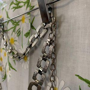 Vintage shiny silver square geometric chain belt